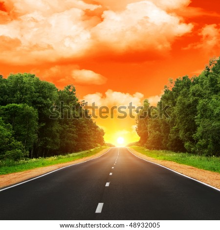 Road and sunset.