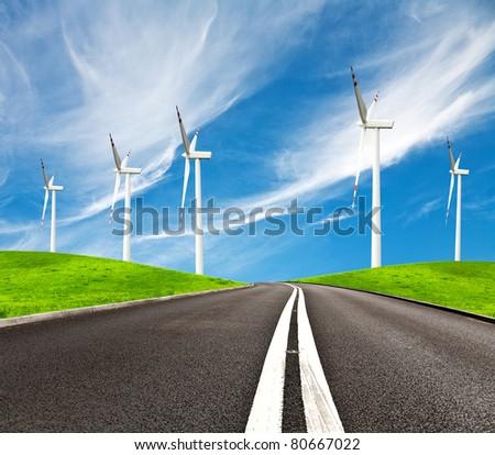 Road and wind turbines