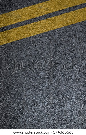 Road asphalt texture with  two yellow lines #174365663