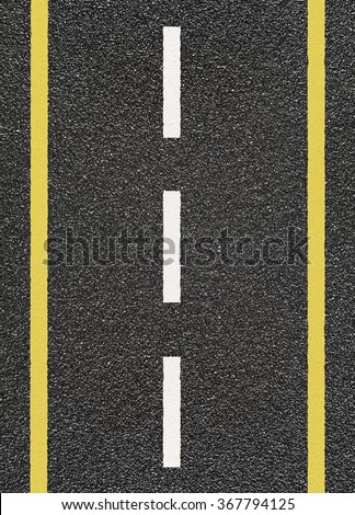 Road asphalt with  yellow and dashed white stripe #367794125