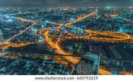 Road at night / City scape Bangkok / Nightlife #660792619