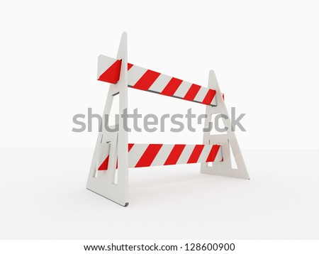 Road barrier isolated on white background