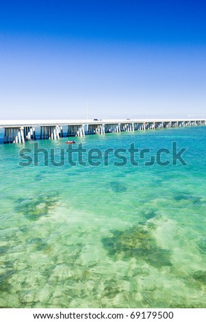 road bridge connecting Florida Keys, Florida, USA