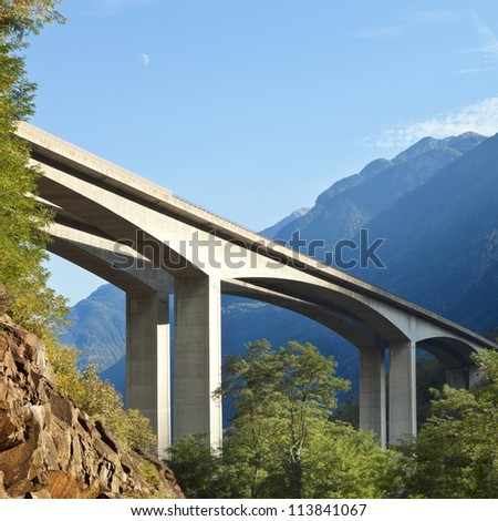 Road bridge in the forests of Swiss
