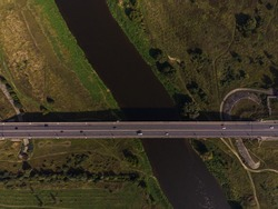 Road bridge over the river. Aerial photo