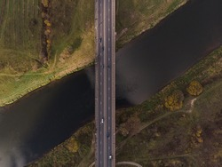 Road bridge over the river. Aerial photography