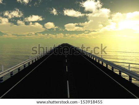 Road bridge sea sky