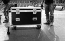 Road case with metal latches on stage