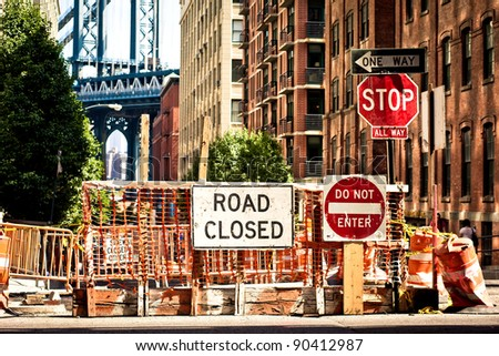 Road closed sign on New York street