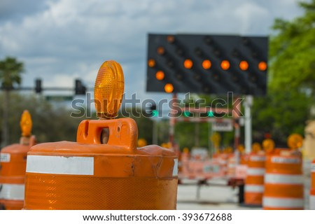 Road closed signs detour traffic temporary stock photo