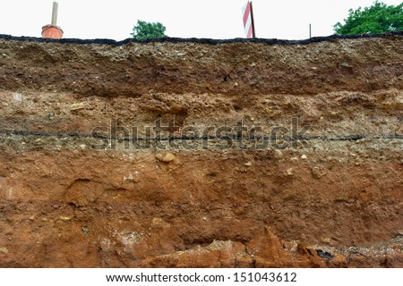 Road collapses.Layer of soil beneath section Stock photo ©