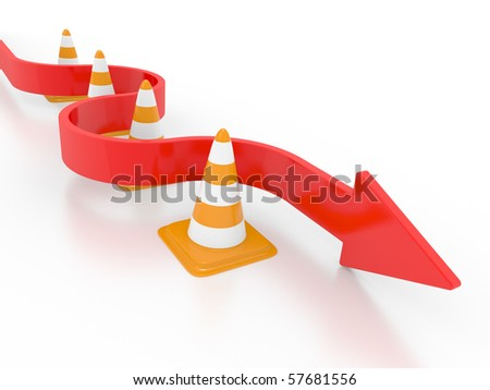 Road cone and arrow on a white background