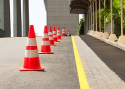Road Cones Lined Up On The Road