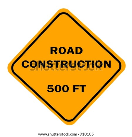 Road Construction 500 ft sign isolated against a white background