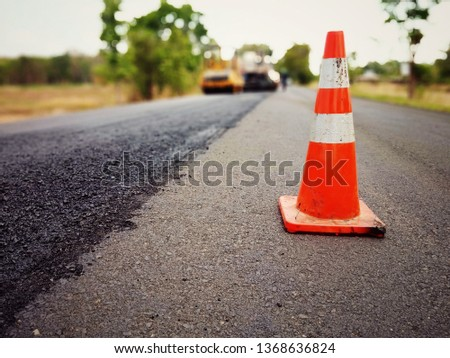 Road construction in Thailand, picture blurred #1368636824