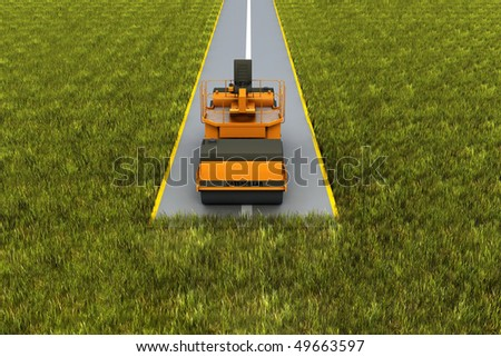 Road construction. Paver machine on road in the grass. Concept render - stock photo