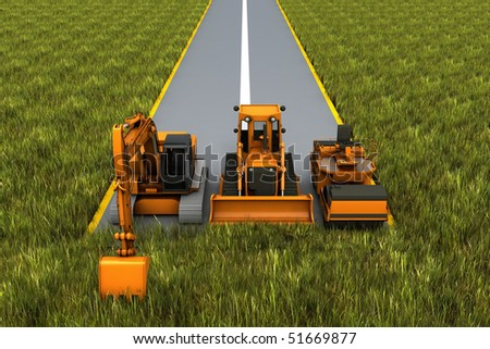 Road construction. Road machinery on the road in the grass. Concept render