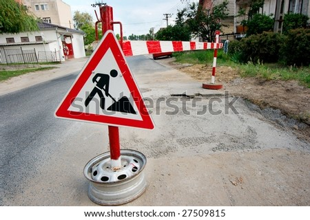 Road construction sign on a street