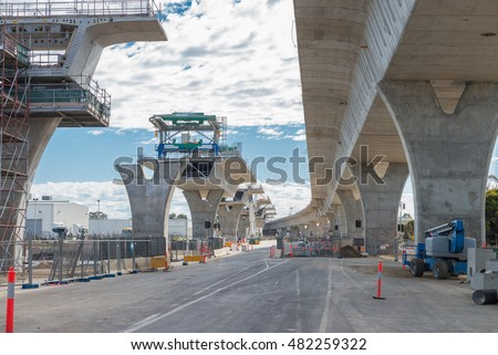 road currently under construction at several levels to increase traffic stock photo