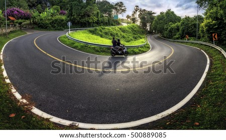 Road curve in the road near Phuket's wind gods Brahma down to the Ya Nui beach is a very beautiful country. #500889085