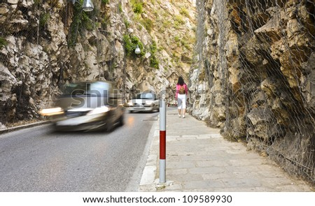 Road cut through hillside