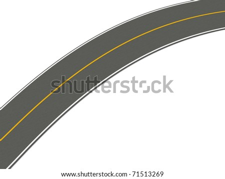 Road. 3D rendered Illustration. Isolated on white.