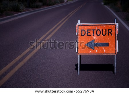 Road detour sign with copy space area.