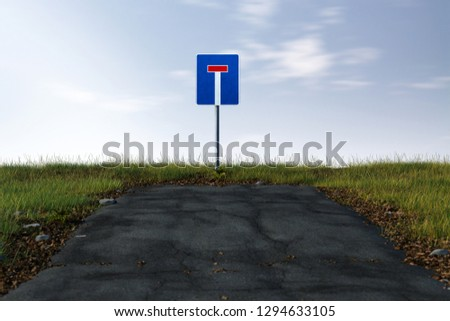Road ends in a dead end (3D Rendering) #1294633105