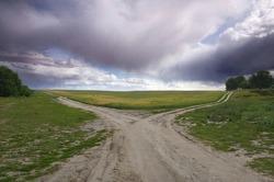 Road-fork before rain in the prairie
