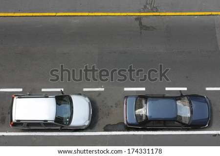 road from above with cars