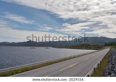 Road going along the Atlantics coast line (Atlantic Road, Norway)