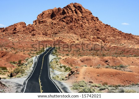 Road going through the Valley of Fire State Park of Nevada.