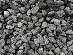 Road gravel. Gravel texture. Crushed Gravel background. Pile of Stones texture.Industrial coals