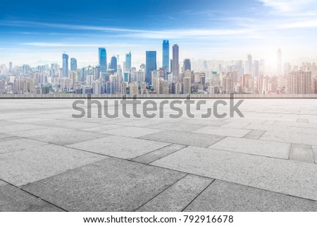 Road ground and Chongqing urban architectural landscape skyline