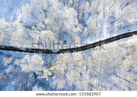 Road in a winter forest from above