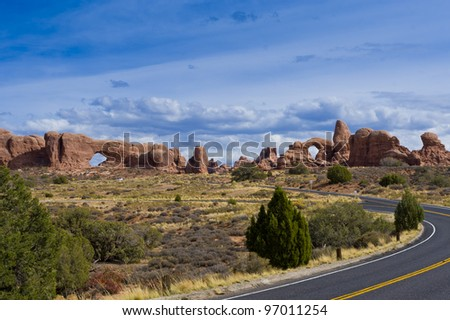 Road in Arches National Park. Utah, USA