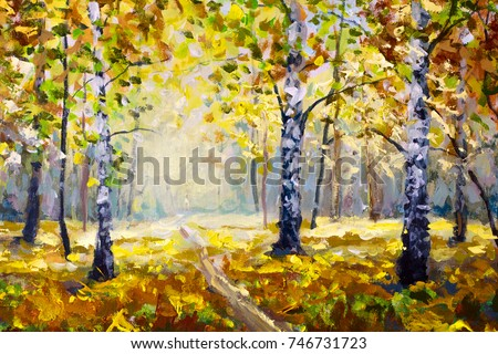Road in autumn forest - Original oil painting white birch trees in autumn forest. Beautiful expressionism golden autumn landscape. Modern impressionism orange autumn nature painting art.