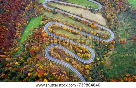 Road in autumn scenery - aerial shot #739804840