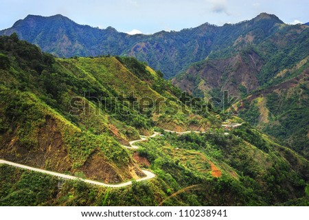 Road in Cordillera Mountains, Luzon, Philippines