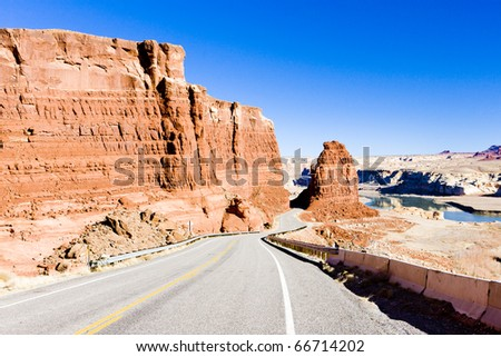 road in Glen Canyon Recreation Area, Utah, USA - stock photo