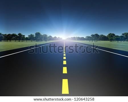 Road in green landscape moving toward light