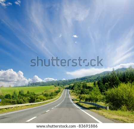 road in mountain. Ukrainian Carpathians - stock photo