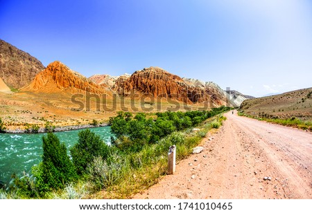 Road in mountain valley. Mountain valley road landscape