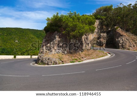Road in mountains - abstract travel background