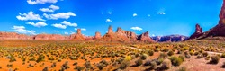 Road in red rock canyon desert Nevada to Las Vegas, USA panoramic landscape