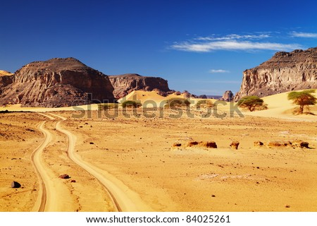 Road in Sahara Desert, Tadrart, Algeria