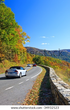 Road in Shenandoah National park at autumn #34932523