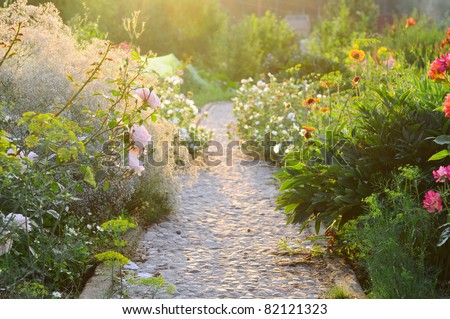 road in the beautiful garden