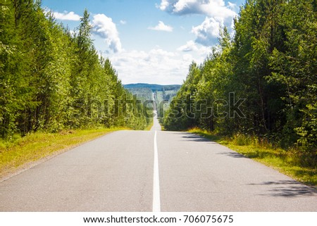 Road in the mountains in the summer day