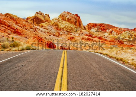 Road in Valley Of Fire - stock photo